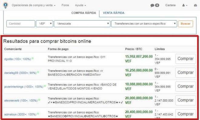 Pantalla de LocalBitcoins para comprar bitcoins online