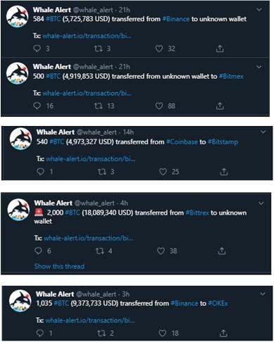 Más movimientos de las ballenas Bitcoin