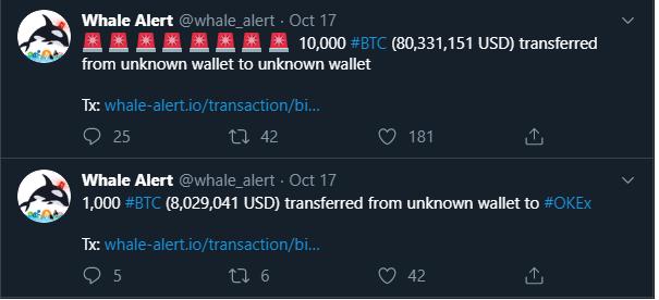 Movimientos de ballenas crypto por 10.000 BTC y 1000 BTC