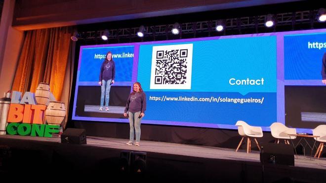 Solange Gueiros exponiendo sobre Ethereum 2.0 en laBITconf 2019