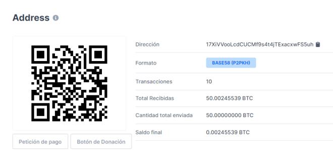 Información sobre la transacción que sugiere la aparición de Satoshi Nakamoto, donde se movieron 50 Bitcoin mediante 10 transacciones. Fuente: Blockchain.com