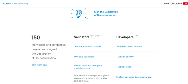 Así luce la página de Free TON, que lanzó TON OS basado en Telegram Open Blockchain. Muestra que 150 individuos y compañías se han suscrito a la Declaración abierta de Descentralización (DOD). Fuente: Free TON Community.