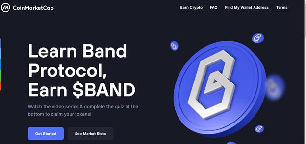 BAND es la primera criptomoneda que puedes ganar en este proyecto de CoinMarketCap, se espera que haya más criptomonedas disponibles en el futuro. Fuente: CoinMarketCap