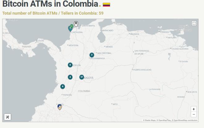 Cantidad de Cajeros de Bitcoin (BTC) en Colombia supera los 50 a nivel nacional. Fuente: CoinATMReader.