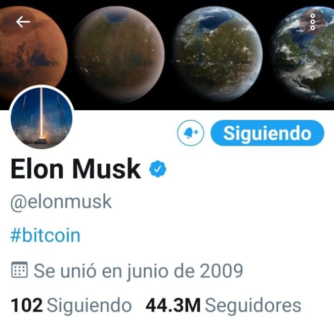 Biografía de Elon Musk en su perfil de Twitter. Fuente: Twitter