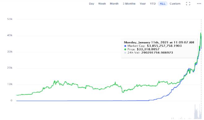 Capitalización de mercado del WTBC. Fuente: CoinMarketCap.