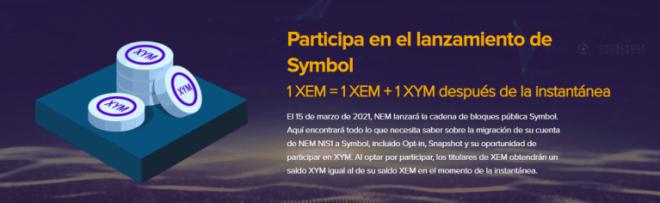Instantánea de Symbol para holders de NEM. Fuente: nem.io.