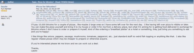 Todos los años se celebra el Bitcoin Pizza Day para conmemorar el post de Laszlo
