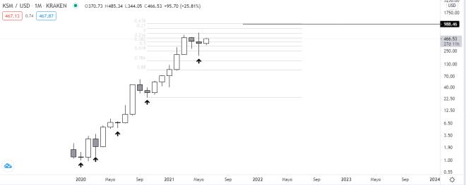 Gráfico mensual del precio de la criptomoneda Kusama. Fuente: TradingView.