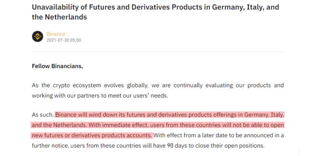 Las medidas conciliadoras de Binance de eliminar las opciones futuras y derivados en Italia, Alemania y Países Bajos, buscan bajar el nivel de la presión de las autoridades. Fuente: Binance
