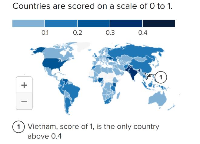 Mapa de la adopción global de criptomonedas, que demuestra cómo Vietnam lidera la lista. Latinoamérica también ha tenido una creciente adopción de criptomonedas. Fuente: Chainalysis
