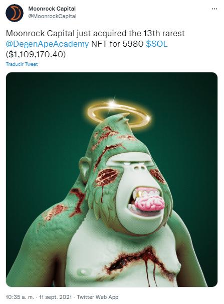 Moonrock Capital a acquis via Solana, le treizième NFT de Degenerate Ape Academy pour 5 980 SOL, soit un montant approximatif de 1 109 170 $.  Source : Twitter