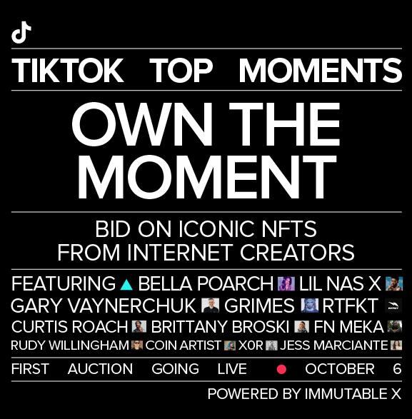 Lil Nas X, Bella Poarch, Brittany Broski, Curtis Roach y muchos más creadores serán los principales actores en esta venta de NFT exclusivos de TikTok. Fuente: NewsRoom TikTok