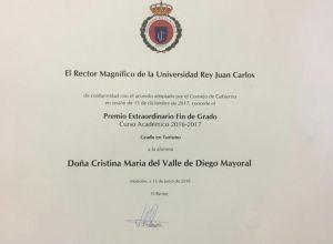 Diploma del premio extraordinario