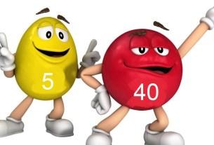 M%M's, красный-40, жёлтый-5