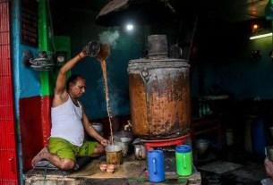 Индия, чай, медный самовар, Tanki Chai Shop