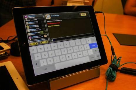 Chat do jogo no iPad. Ficou prático e funcional! Foto: Nepô.