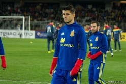 Alvaro Morata training on Cluj Arena