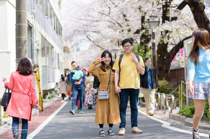 Couple portrait in Naka Meguro during Cherry Blossom Season