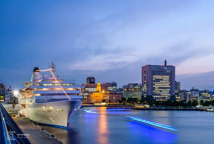 Cityscape view in Yokohama at blue hour from Osanbashi Pier