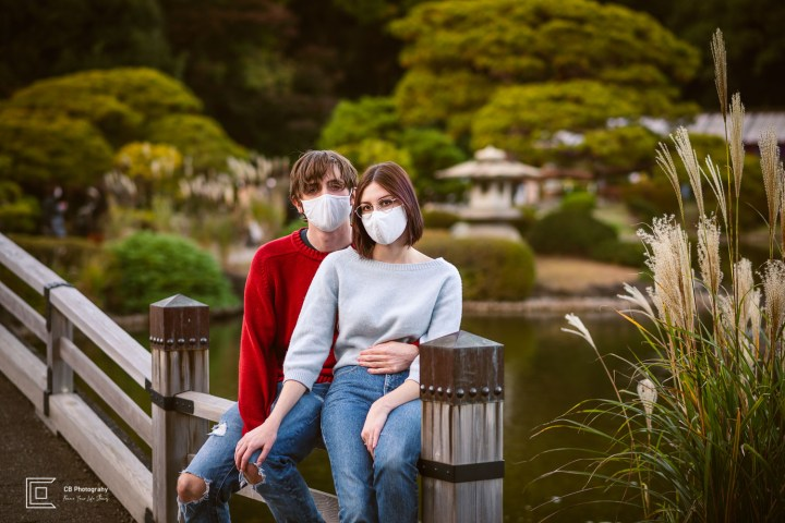 Couple portraits wearing masks