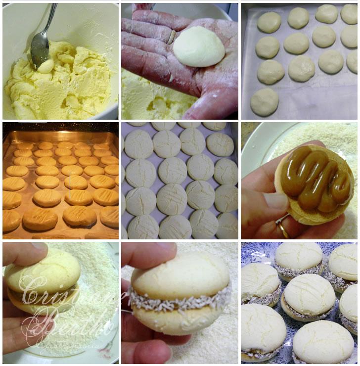 receita de sequilhos preparados com amido de milho recheados com doce de leite