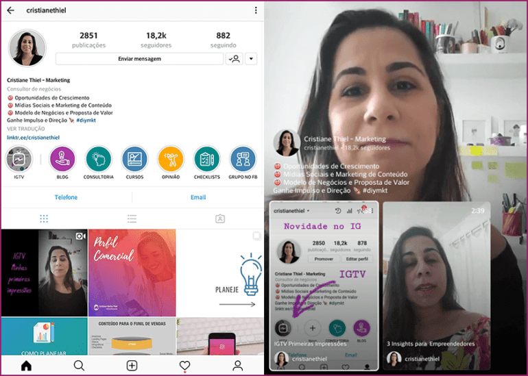 IGTV - Perfil com Botao e Home do Canal