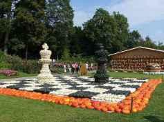 Escultura de abóboras do jogo de Xadrez. Viagens pelo Mundo