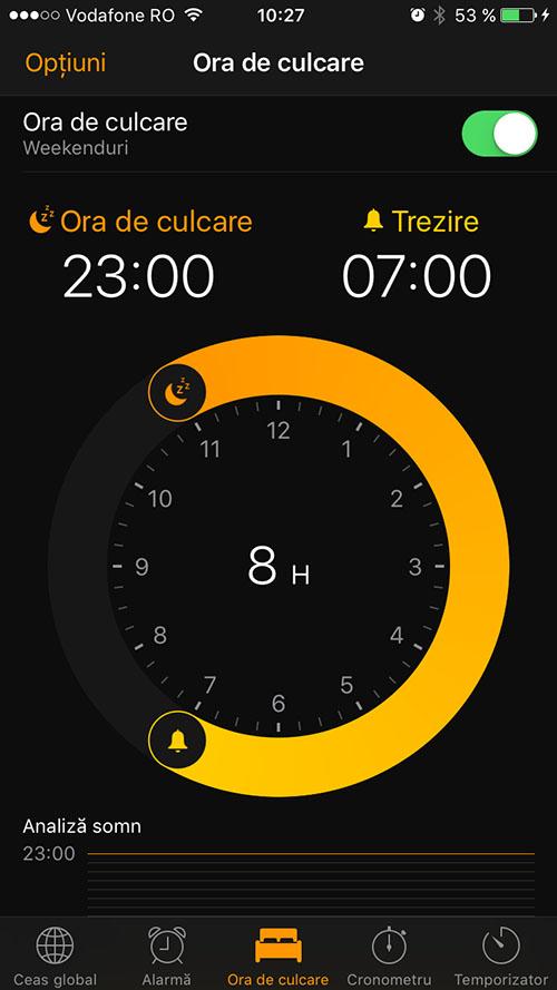 ora de culcare - ios 10