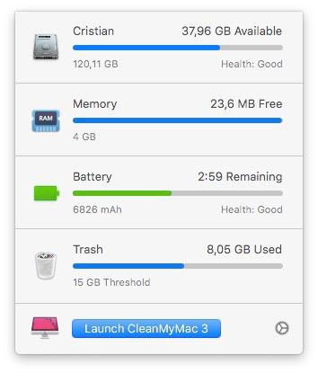 Bara de meniu de pe MacBook - cleanmymac