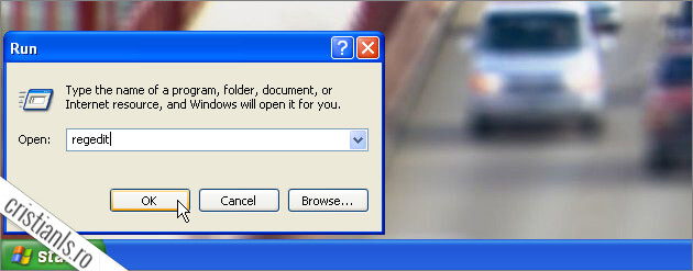 Windows XP » Start » Run » Regedit » OK