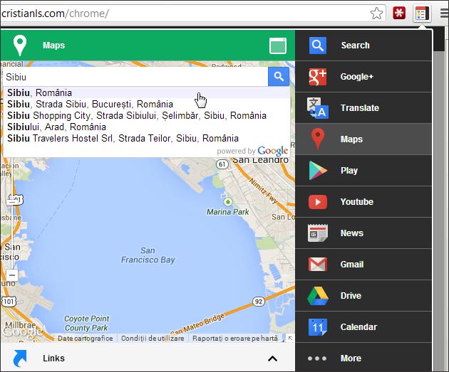 Black Menu: acces rapid la serviciile Google
