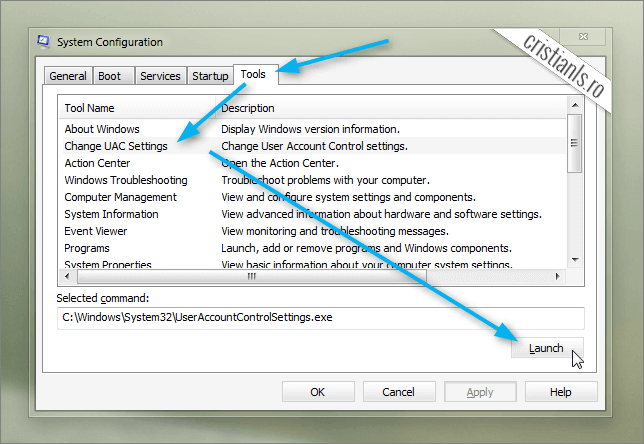 System Configuration Tools » Change UAC Settings » Launch
