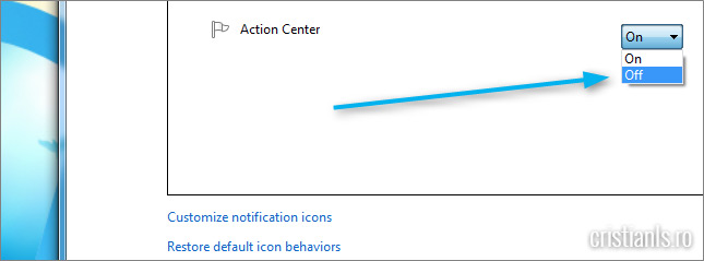 Action center » Off