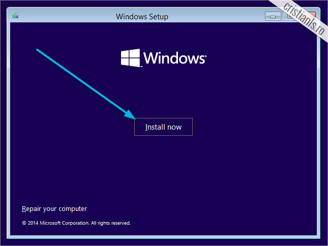 install now windows 10