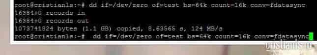reazultat test hard disk cu dd