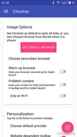 Chromer - Optiuni