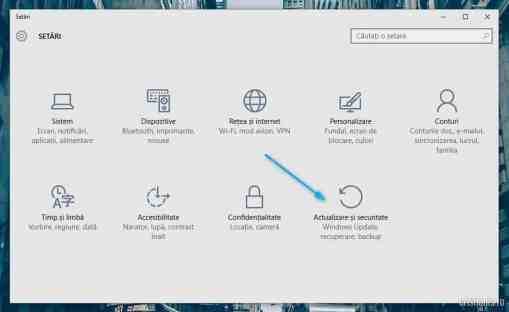 Resetare Windows 10 - Actualizare si securitate