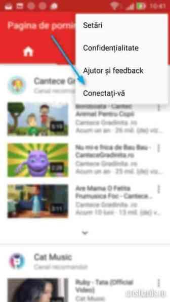 conectare youtube la contul google