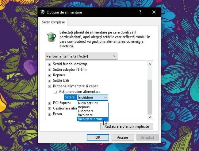 inchidere ecran windows 10 creators update