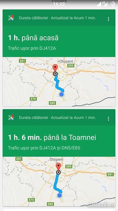 durata călătoriilor - google now