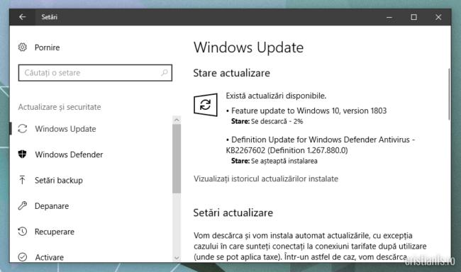 Se instaleaza Windows April Update