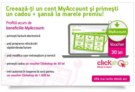 Creeaza-ti un cont MyAccount si primesti un cadou + sansa la marele premiu!