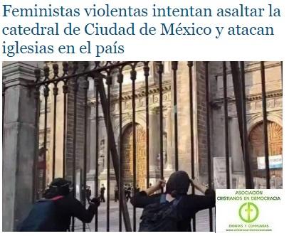 Terroristas disfrazadas de feministas celebran el dia de la violencia contra la mujer