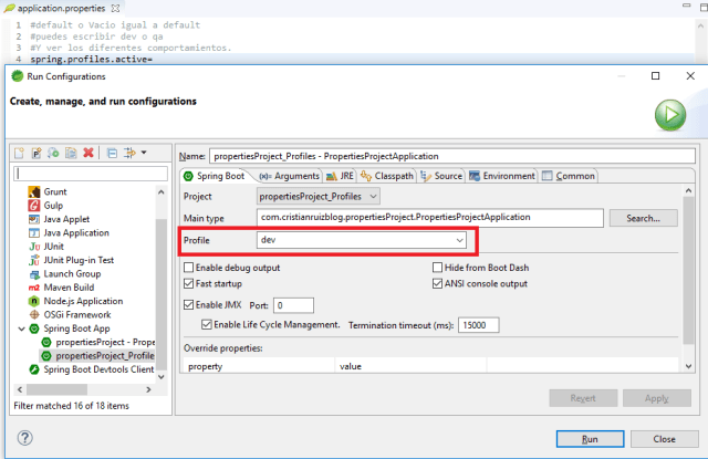 Spring Boot Profile Run Configuration