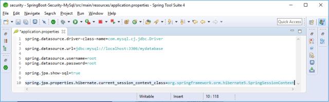Application properties con el data source especificado