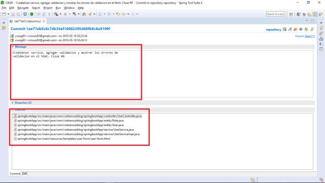Git Commit of CreateUser Service