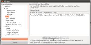 Opciones de FileZilla - SFTP