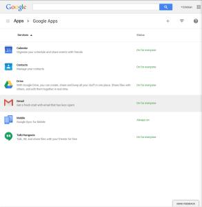 Menú de Google Apps