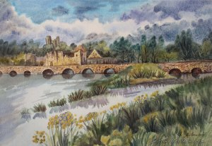 Adare Desmond Castle artistic watercolor landscape painting by Cristina Movileanu